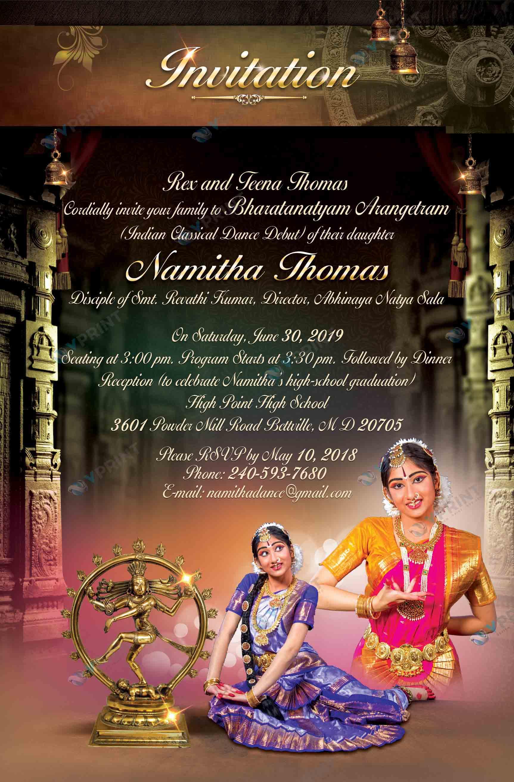 VPrint Arangetram Invitations