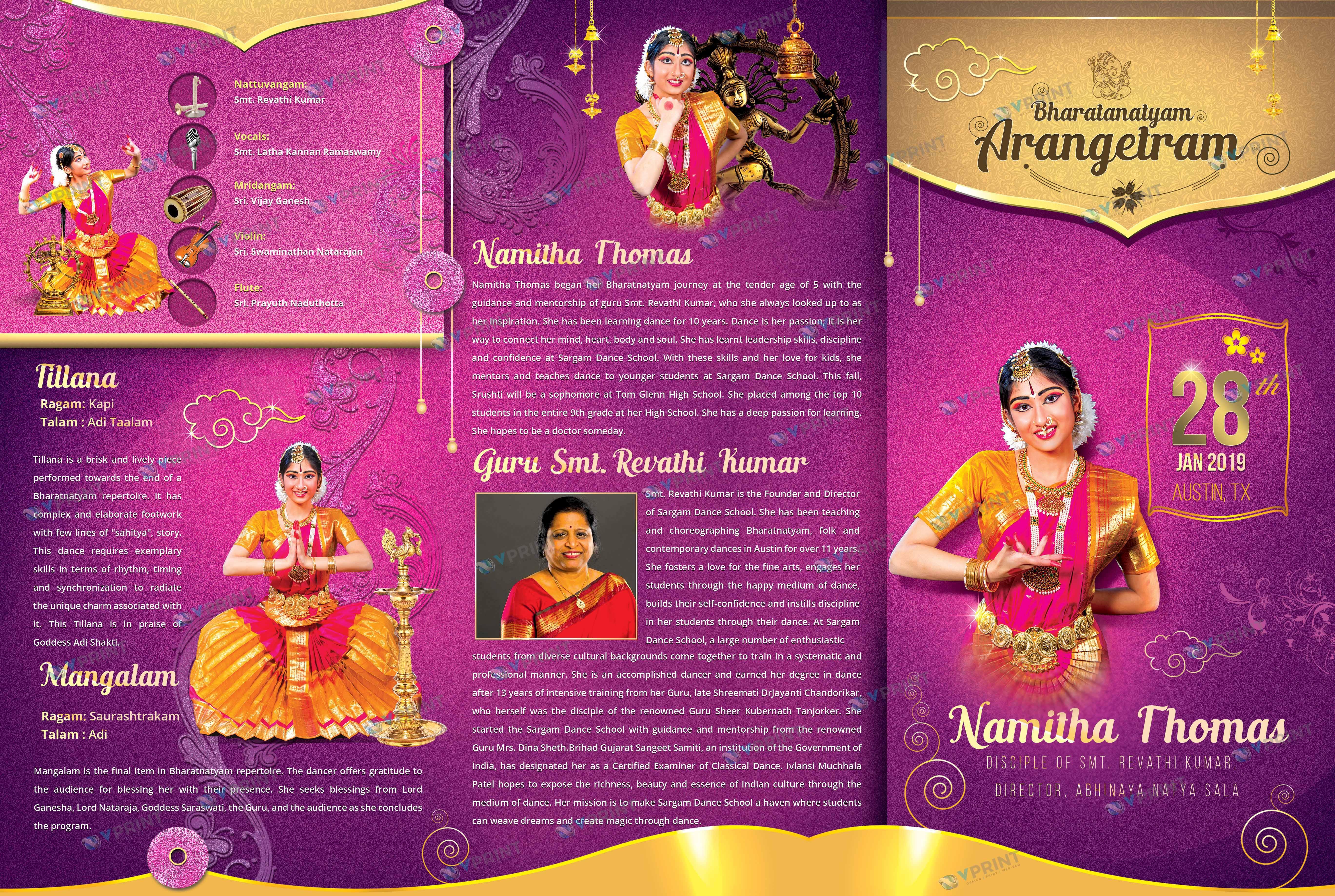 Arangetram Brochure Folded
