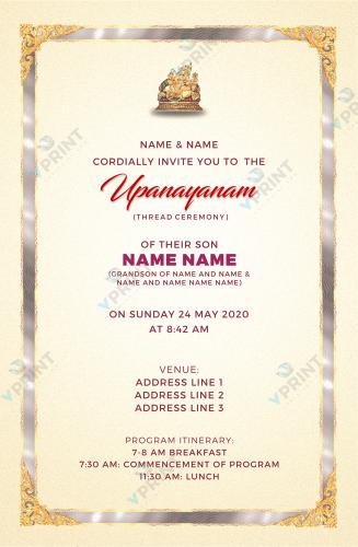 Upanayanam Invitation Tyson's VA USA
